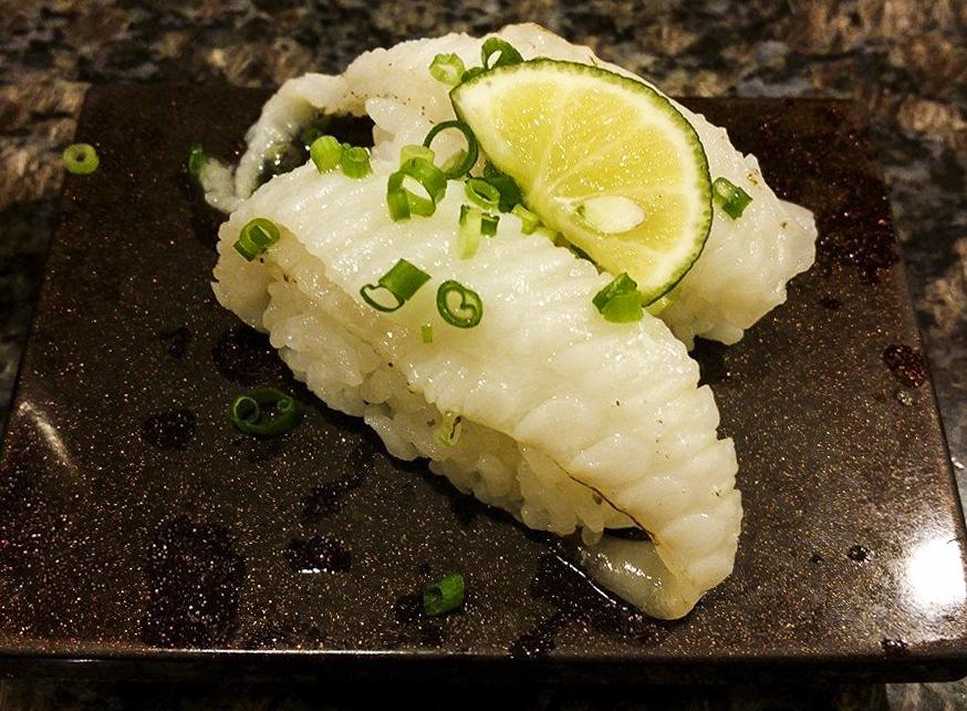 seared flat fish fin tokyo, japan sushi