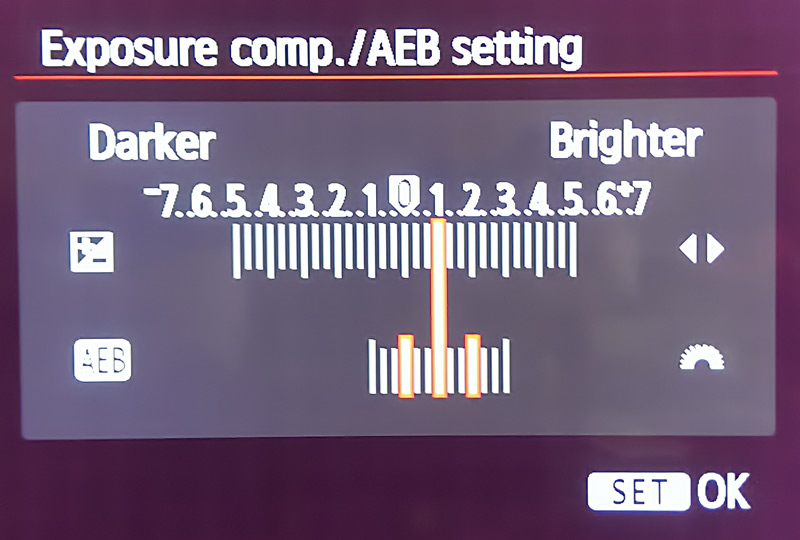 AEB set on the Canon Rebel T5i to exposure compensation levels of 0, 1, and 2.