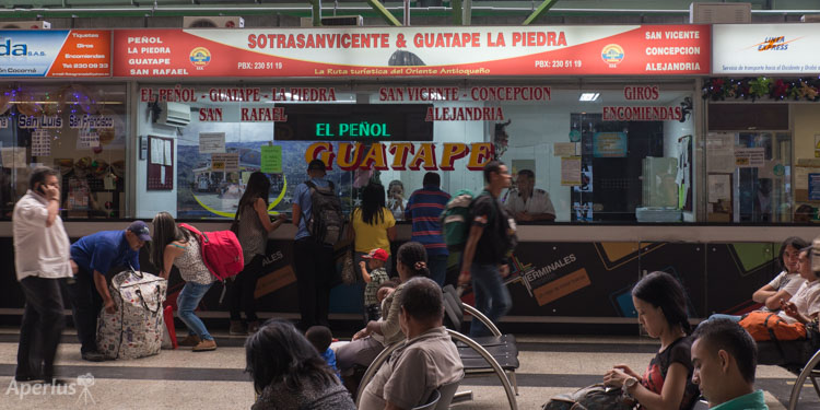 Sotrasanvicente ticket booth at the Medellín North Terminal.