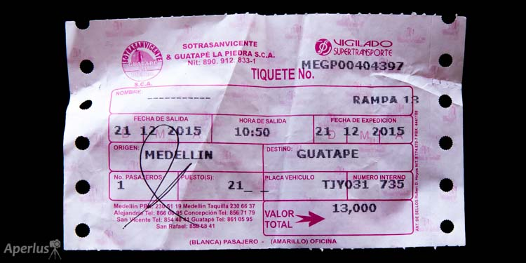ticket bus from Medellin to Guatape