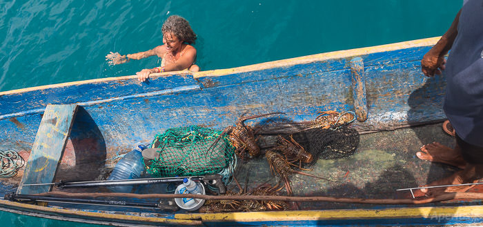 Kuna fishermen selling lobster, san blas islands