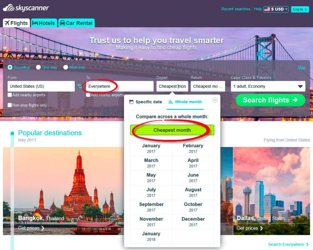Skyscanner demo on how to find cheap flights.