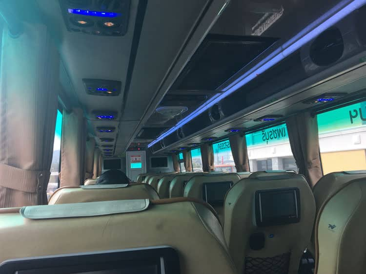 inside the bus from Phuket to Chiang Mai with Green Bus Thailand