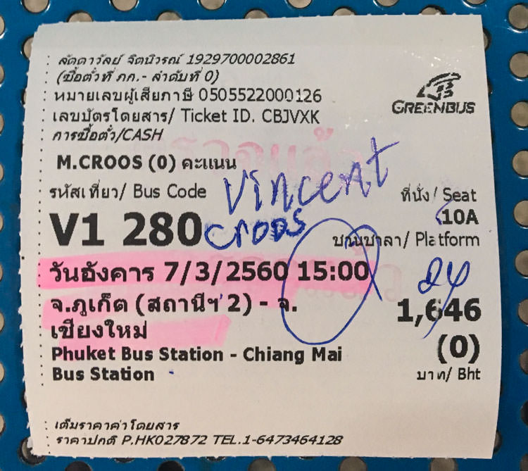 Phuket to Chiang Mai bus ticket
