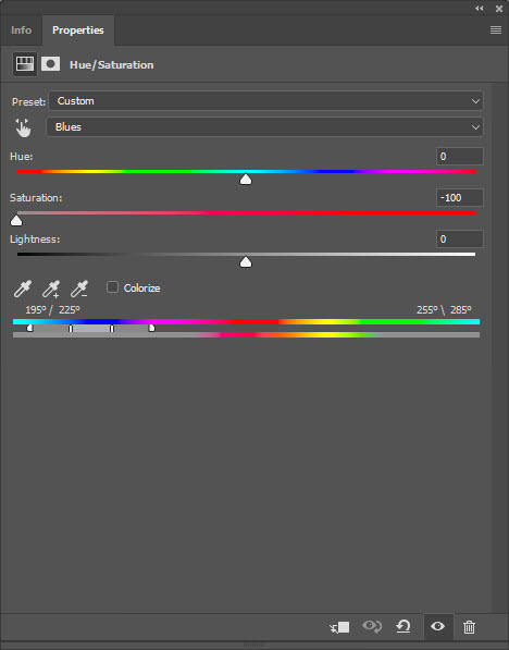 hue and saturation adjustment layer selective color photography