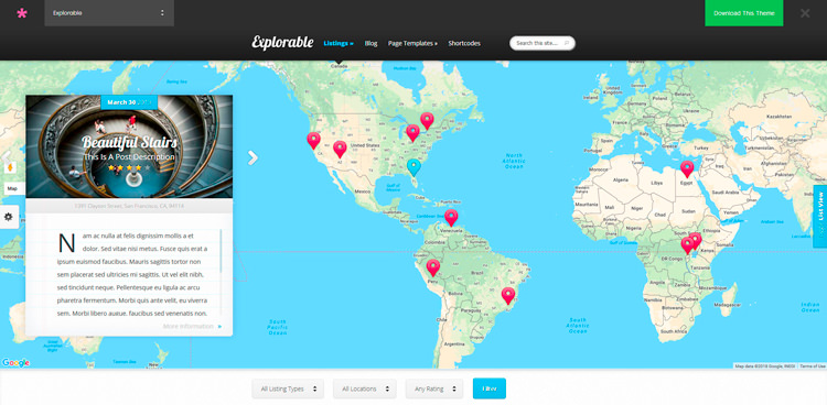 Explorable WordPress Travel Blog Theme